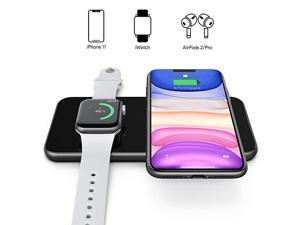 Charger 2 in 1 Dual Charging Pad Compatible for iPhone 1212 ProSE1111 ProXS MaxXRXSX88P Galaxy S20Note10S10S9S8Note 8 iWatch 6SE543 Airpods 2Pro