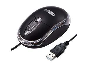 Computer Mouse Mini USB Wired Optical Mice for PC Laptop Desktop Black Color 15M Cable by