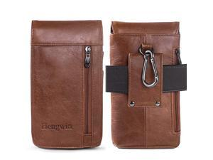 iPhone 11 XS Max XR 8 Plus 7 Plus 6s Plus Belt Clip Carrying Case Leather Cell Phone Belt Pouch Samsung Galaxy Note 10 9 A51 S20+ S10+ Belt Loop Smartphone Holster Men Purse +Keychain Khaki