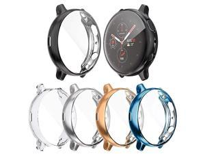 Screen Protector Case Compatible with Samsung Galaxy Watch Active 2 44mm Cover, All-Around Protective Cover Soft TPU Bumper Accessories (Clear+Silver+Black+Indigo+Rose Gold, Active 2 44mm)