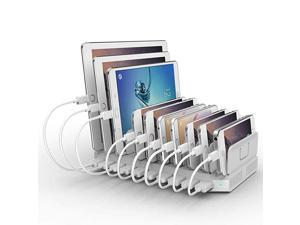 iPad Charging Station 96W 10Port  USB Charging Station Multiple Device USB Charger with Smart IC Tech Organizer Stand for iPhone X Xs Max876 Samsung Google Nexus LG Tablets White