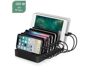 Charging Station105W 8Port Desktop Charger Organizer with 45W Power Delivery Port for C Laptops MacBook ProAir iPad Pro S10 and 7 Ports for iPhone 11ProMax S9S8 and More