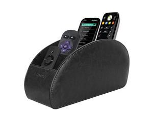 Remote Control Holder with 5 Compartments PU Leather Remote Caddy Desktop Organizer Store TV DVD BluRay Media Player Heater Controllers Black