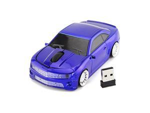 for Chevrolet Camaro Bumblebee Car Mouse Wireless Sport Car Shape Mouse Laptop Desktop Computer Mouse Optical Mice with 24GHz Nano USB LED Headlight Blue