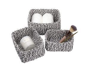 JOLIE MUSE Woven Storage Baskets Recycled Paper Rope Bin Organizer Divider for Cupboards Drawer Closet Shelf Dresser Set of 3 Gray White