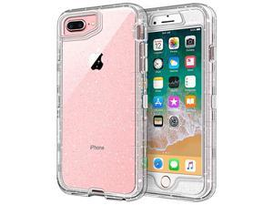 Case for iPhone 8 Plus Case for iPhone 7 Plus Case 55 inch Crystal Clear 3 in 1 Heavy Duty Defender Shockproof FullBody Protective Case Hard PC Shell Soft TPU Bumper Cover Clear Glitter