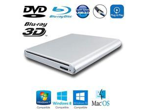 3.0 External 3D Blu-ray and DVD Movies Player, for Dell XPS XP S 13 15 Inspiron 15 5000 9570 2-in-1 G7 G3 Ultrabook Laptop, Region Free Blue-ray BD-ROM Combo Reader Slot Optical Drive