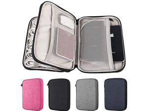 Double Layers Electronics Gadget Organizer by  Travel Cord Storage Bag for USB Cable Charging Cord SD Card HDD USB Flash Drive Power BankBlack