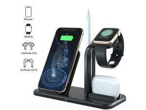 Charger 3 in 1 Charging Dock for Apple Watch and Airpods Charging Station for Multiple Devices Qi Fast Charging Stand Compatible iPhone XXSXRXs Max88 Plus Black