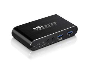 KVM Switch 2 Port, Selector for 2 PC Sharing 1 HD Monitor and a Set of Keyboard and Mouse Connections, HUD 4K2K@30Hz, 3D, 1080P, Hotkey Supported