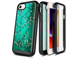 Case for iPhone SE 2020 2nd Gen iPhone 8 iPhone 766S FullBody Protective Rugged Matte Bumper with Builtin Screen Protector Shockproof Impact Resist Durable Case Plum Blossom