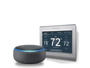 Echo Dot (3rd Gen) - Charcoal Fabric Bundle with  RTH9585WF1004/W Wi-Fi Smart Color Programmable Thermostat