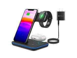 Charging Station 3 in 1 Fast Charger Stand for iPhoneApple WatchAirpod Compatible with Other QiCertified Phones