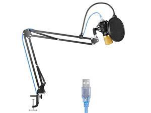 NW7000 USB Microphone for Windows and Mac with Suspension Scissor Arm Stand Shock Mount and Table Mounting Clamp Kit for Broadcasting and Sound Recording Black and Gold