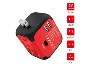 International Universal Power Adapter Converter with 2 USB Charging Ports All in One Travel Worldwide Plug Builtin Spare Fuse AC Socket Wall Outlet for US EU UK AU CN 150 Countries Red