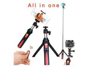 3 in 1 Handheld Tripod SelfPortrait Monopod Smartphone Selfie Stick with Bluetooth Remote Shutter Red