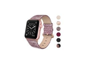 Leather Band Compatible for iWatch 38mm 40mm Genuine Leather Replacement Strap Rose Gold Buckle Compatible iWatch Series 5 4 3 2 1 Sports Edition Women Glitter Rose Pink