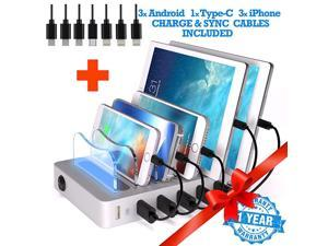 6 USB Charging Station for Multiple Devices Fast Multiple USB Charger Multi Port Hub Charging Organizer Dock Smart Cell Phone Docking Station iPhone Compatible Charger LED NoBuzz