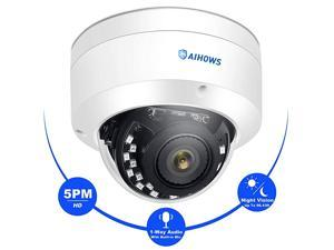 Hikvision Compatible 5MP Dome PoE Security Camera Support ONVIF with MIC Ultra HD IP Surveillance Sound amp Video Recording for Outdoor amp Indoor IP66 Weatherproof 100ft IR 110°Viewing Angle