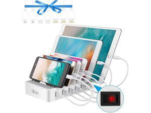 Fast Charging Station for Multiple DevicesCharging Station Family Charge Docking Station Organizer with 6 USB Ports Mixed CablesCompatible with iPhone iPad and Android Phone and Tablet