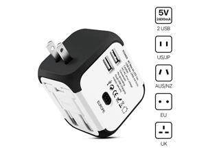 International Universal Power Adapter Converter with 2 USB Charging Ports All in One Travel Worldwide Plug Builtin Spare Fuse AC Socket Wall Outlet for US EU UK AU CN 150 Countries White