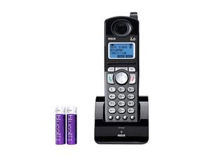 RCA 25055RE1 DECT 60 Cordless Accessory Handset with Builtin Voice Memo Recorder 2 Line Phone Systems for Small Business Bundle with  2 AA Batteries