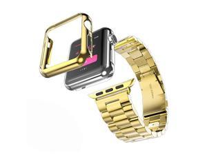 Compatible with Apple Watch Band Solid Stainless Steel Metal Strap Band wAdapter+Case Cover for Apple Watch iWatch 38mm H Gold 38mm