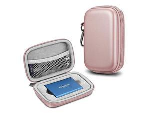 Carrying Case for Samsung T5 T3 SSD Hard Shell Shock Proof Portable Travel Storage Cover Bag for Samsung T5 T3 Portable Solid State Drive Rose Gold