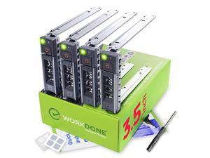 4Pack 35 inch Hard Drive Caddy Compatible for Dell PowerEdge Servers with Detailed Installation Manual Sled Front Sticker Labels Screwdriver Added Tray Screws