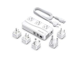 International Power Adapter 250W 220V to 110V Step Down Travel Voltage Converter with 4Port USB Including USAUEUUKIndiaSouth Africa Plug Adapter
