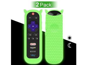 Pack Protective Case for TCL Roku TV RC80 Remote Silicone Cover Shock Proof Remote Controller Skin Cute Cat Ear Shape Anti Slip Universal Replacement Sleeve ProtectorGlow Green