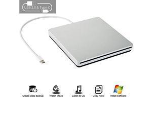 CD DVD Drive USB C CD DVD BurnerWriter Slim Portable Slot in CD DVD Reader for MacBook ProAirMacLaptopWindows10 Sliver