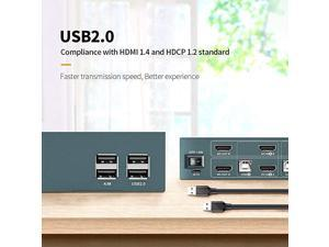 Dual Monitor HDMI KVM Switch 4 Port 2 USB 20 Hub UHD 4K30Hz YUV444 Downward Compatible USB Powered Hotkey Switch with Cables