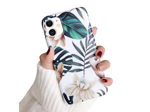 iPhone 11 Case iPhone 11 Marble Case Slim Soft Flexible TPU Marble Floral Pattern Protective Cover for Apple iPhone 11 61 2019 Green Leaves