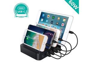 Charging Station, Premium 60W 4-Port Desktop Charger Organizer With 45W Power Delivery Port For -C Laptops, MacBook Pro/Air, iPad Pro, S10, And 3 Ports For iPhone 11/Pro/Max, S9/S8 and More
