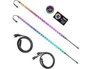 Addressable RGB LED Strip for PC, 5V WS2812B Rainbow Digital Light Strip for ASUS Aura SYNC, MSI Mystic Light SYNC, ASRock Polychrome RGB 3 pin 5V ADD Header on Motherboard, 40cm 24 LED, 2pcs