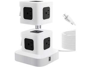 Power Strip Tower with 2 USB Ports 9 Outlets Detachable Stackable Design Extend to 10 AC Outlets 2500W 10A Max Surge Protector Electric Charging Station 10ft Extension Cord for Home Office