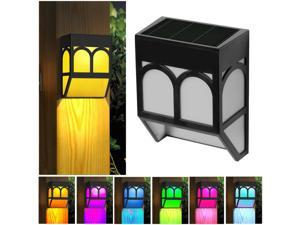 Set Of 6 Solar Fence Lights Color Changing Outdoor Wall Lights For Deck 2 Modes