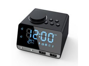Alarm Clock Radio Bluetooth Speaker Dual Alarm Clocks with Dual USB Charging Port