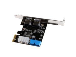 2 Port PCIE Expansion Card, 2 Ports PCI-E to USB 3.0 Expasion Card with 4-Pin & 20 Pin Control Card Adapter PCI Express Controller Hub for Windows