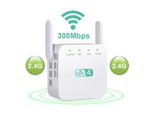 WiFi Extender with External Antenna 300Mbps 2.4G WiFi Booster Wireless Repeater Internet Amplifier Supports Repeater/AP, 2 Antennas 360° Full Coverage, Extend WiFi Signal to Smart Home Devices