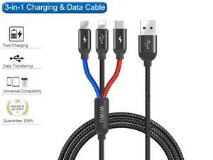 Premium 3 in 1 USB Cable, Lightning Type C and Android Micro USB Charging Cable 3.94ft Aluminium Braided Nylon Charger cable for iPhone 7 8 11 12 X iPad Samsung Galaxy and more cell phone tablets