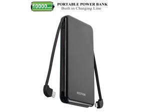 SZTREE Portable Charger,10000 mAh Power Bank External Battery with Built in Charging Cable,High-Speed Charging for iPhone,iPad,Samsung Galaxy S8 S9 and More Type C Micro USB Lightning and USB 1 port