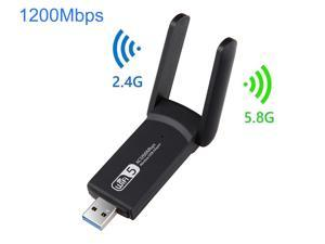1200Mbps USB WiFi Adapter, AC1200 Dual Band Wireless USB Adapter 2.4G 5G High Gain Dual Antennas 802.11ac,Mini Wireless Network Card Supports Windows 10 8 7 Vista XP, Mac OS,Linux
