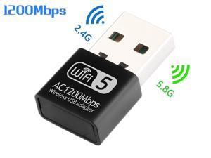 1200Mbps USB WiFi Adapter, 2.4G+5G Dual Band Mini Wireless Adapter, External USB 2.0 Network Card 802.11ac Wifi Dongle for Laptop Desktop computer Support Window Mac Linux OS