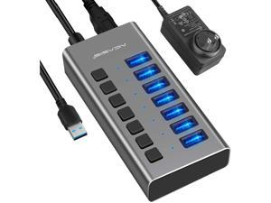 Powered USB Hub, Aluminum 7 Port USB 3.0 Hub  36W USB Splitter with Individual Power On/Off Switches and 12V 3A Power Adapter Support Charing for Laptop, PC, Computer, Mobile HDD, Flash Drive and More