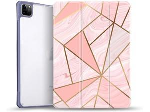 """Case Compatible with New iPad Pro 11 Inch 3rd Generation 2021, Slim Trifold Hard Back Shell Protective Cover, Support Apple Pencil Charging with Auto Wake/Sleep for iPad Pro 11"""" 2021 (Pink Marble)"""
