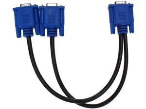 Attoe VGA Monitor Y-Splitter Cable,VGA 1 Male to Dual 2 VGA Female Adapter Converter Video Cable for Screen Duplication - 1 Foot