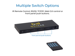 MuxLab 4x4 HDMI 2.0 Matrix Switch/Splitter with IR Remote | Supports 4K@60Hz, 4:4:4, HDR, 4 Input and 4 Output | Control with IR Remote, RS232, TCP/IP & Push Button