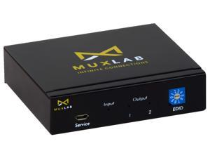 MuxLab 1x2 HDMI Splitter 1 in 2 Out   Supports 4K@60HZ HDR, HDMI 2.0, HDCP 2.2   for PS4 PS3 Blu-Ray Player HDTV (1 Source to 2 Displays, for Dual Duplicate Monitors)